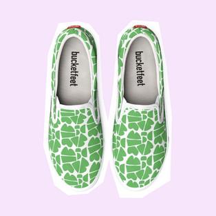 Happy Canvas Shoes in Green by Petra Kaksonen