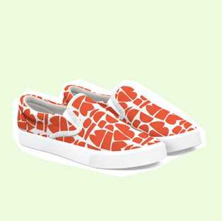 Happy Canvas Shoes in Red by Petra Kaksonen