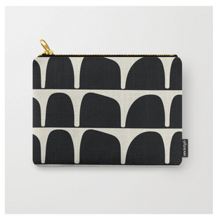 Black and white travel pouch