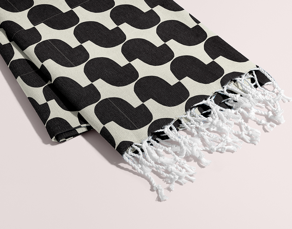 Petra Kaksonen Black and white Cutout Towel