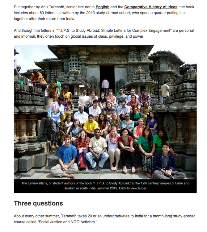 Study-abroad letters reflect on life in Bangalore