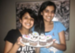 Volunteers make cup cakes