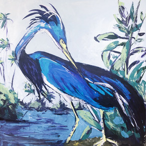 Audubon revisited blue heron acrylic on canvas 48x48