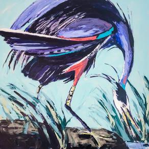 John James Audubon inspired heron 48x48 acrylic on canvas w palette knife