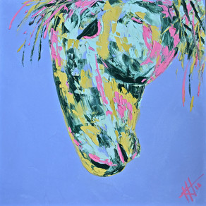 30X30 Abstract Palette Knife Horse