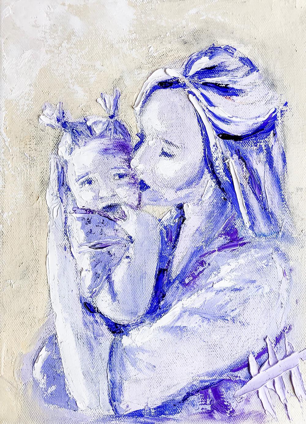 impressionist madonna and child by kentucky artist katie humphress
