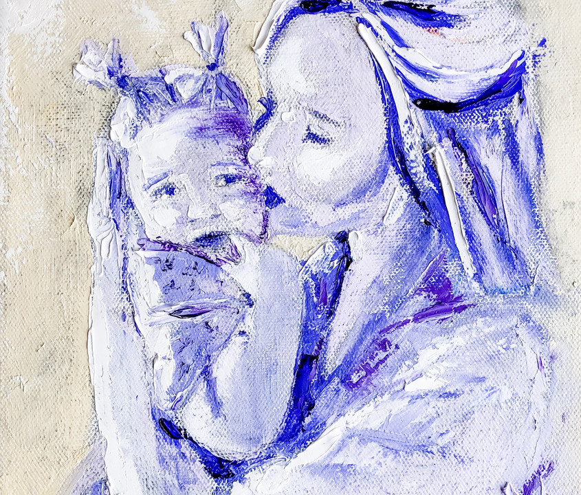 """Palette Knife Oil Painting Impressionist Madonna """"Unconditional"""""""
