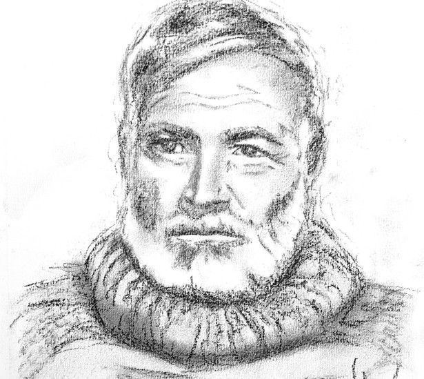 9x12 Ernest Hemingway Charcoal Portrait on Paper