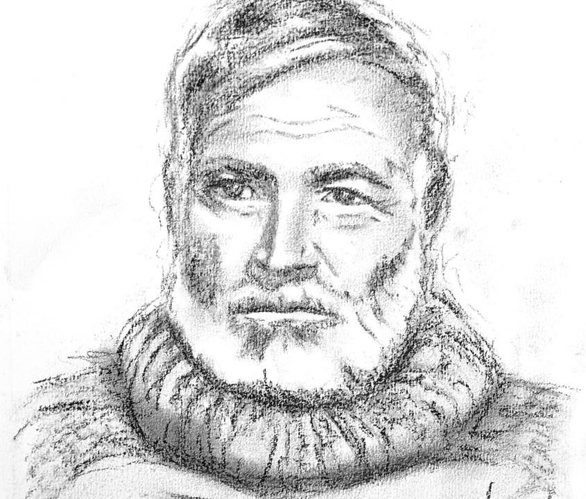 9x12 Ernest Hemingway Charcoal Portrait on Paper
