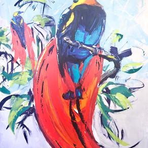Tropical Audubon revisited 30x48 acrylic on canvas
