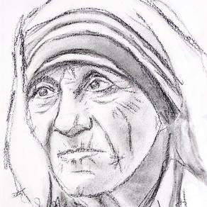 9x12 Mother Teresa Charcoal Portrait on Paper