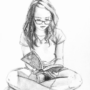 Charcoal on Paper: Rylie, Girl Reading