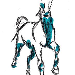 14 X 24 Charcoal & Acrylic Horses