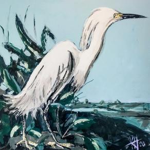 John James Audubon inspired egret 48x48 acrylic on canvas with palette knife