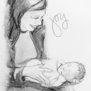 9x12 My Friend and Her New Grandbaby Charcoal on Paper