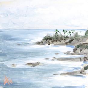 12x12 Acrylic Ocean Laguna Beach