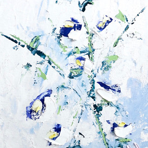 Flower Study - Impressionist bluebells palette knife oil on canvas