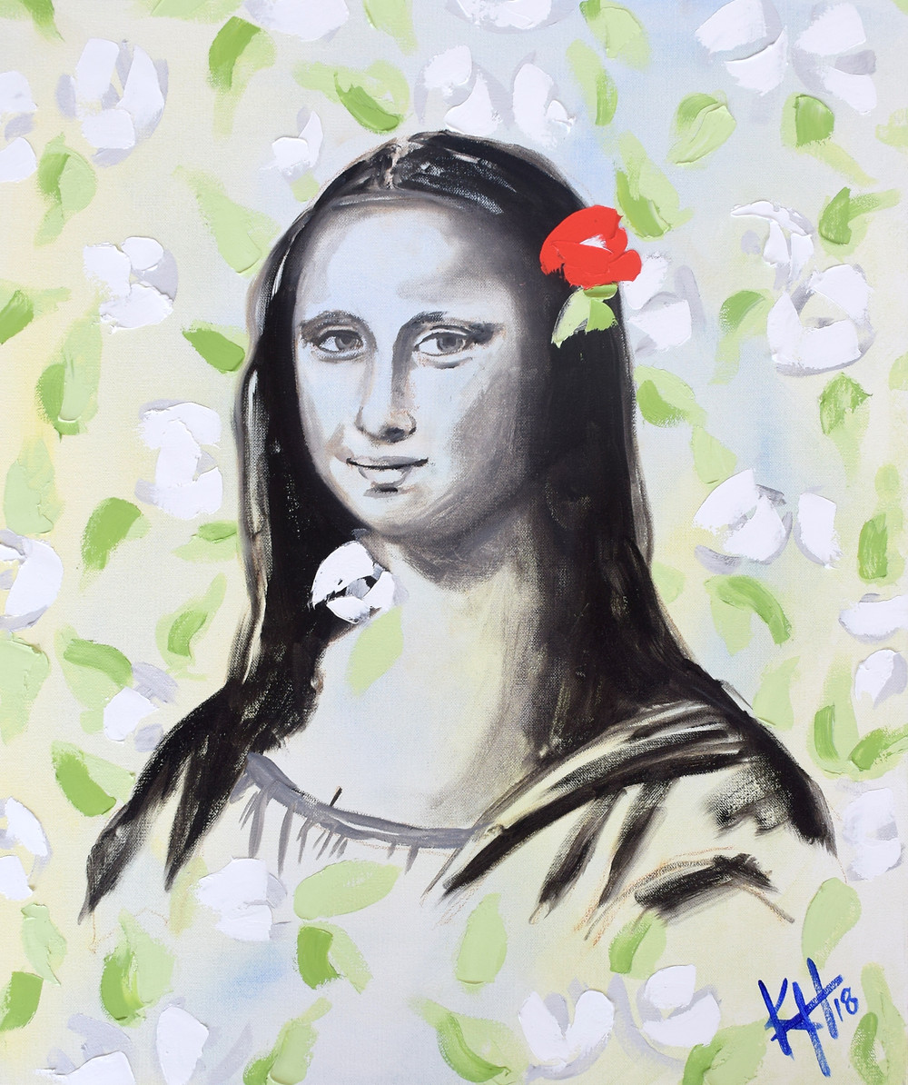 Abstract Contemporary Impressionist Mona Lisa