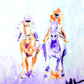 Palette Knife Impressionist Horse Race Oil Painting
