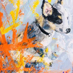 """Tuck the Blue Heeler"" palette knife acrylic on canvas"