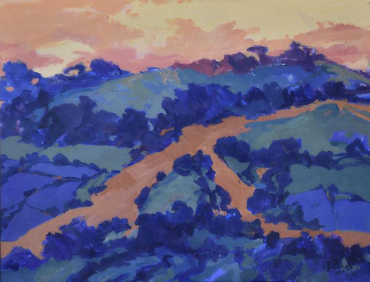 colbalttreesandgoldenpath38.5x29..5acryl
