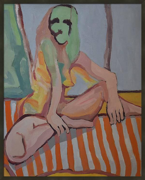 nude-lady-on-orange-striped-throw-george