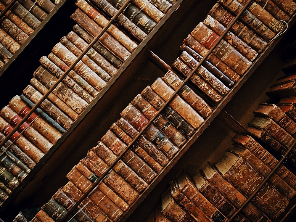 Old books in shelves - Full of knowledge and no wisdom