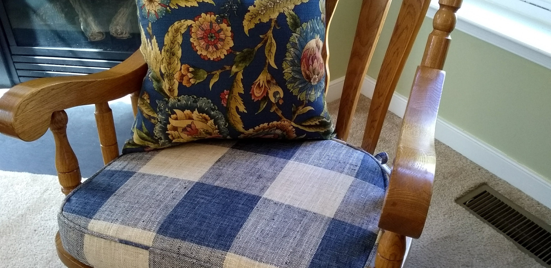 Rocking Chair Cushion w/ Ties & Pillow