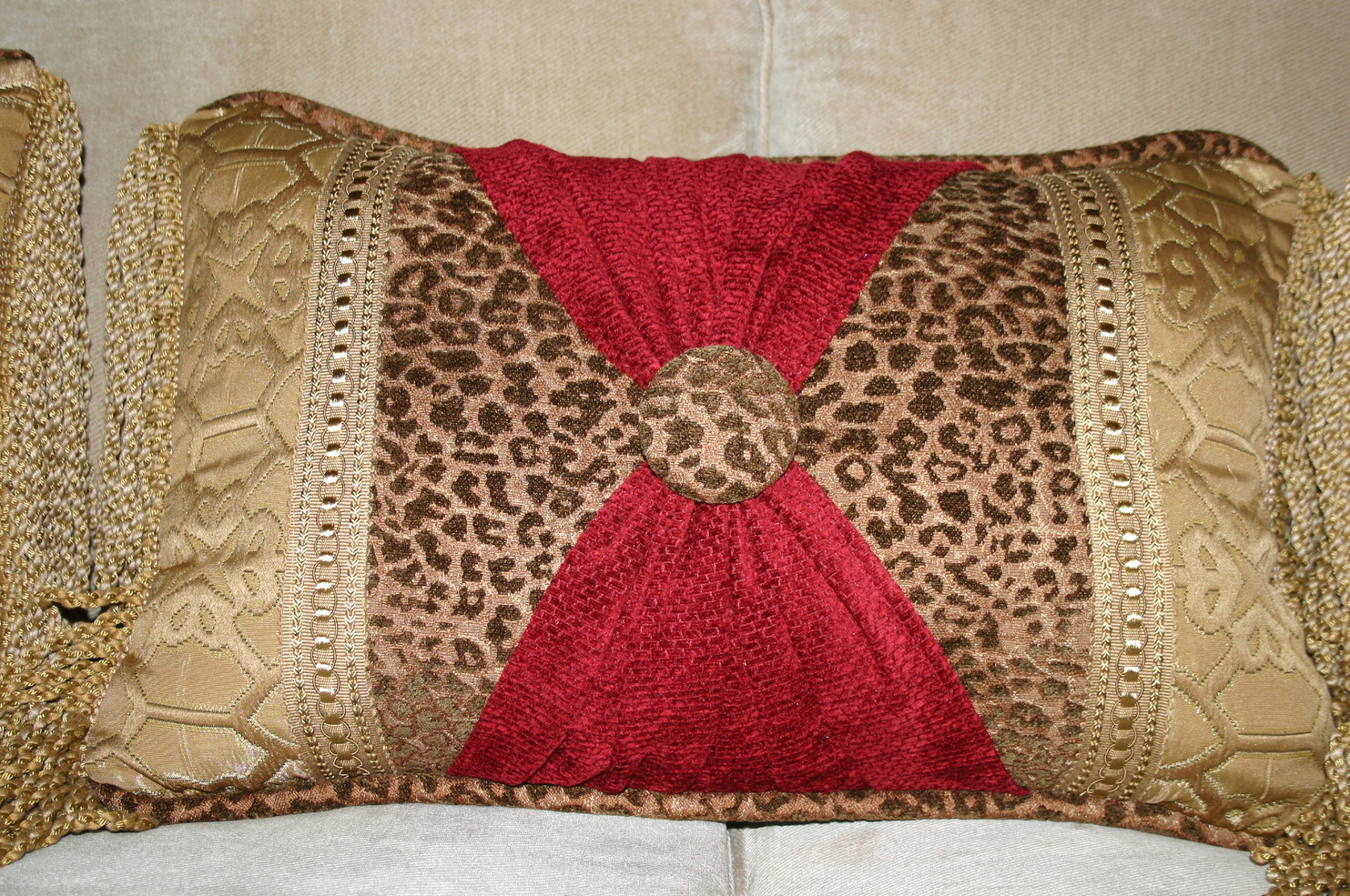 Decorative Lumbar w/ multiple trims and rouching
