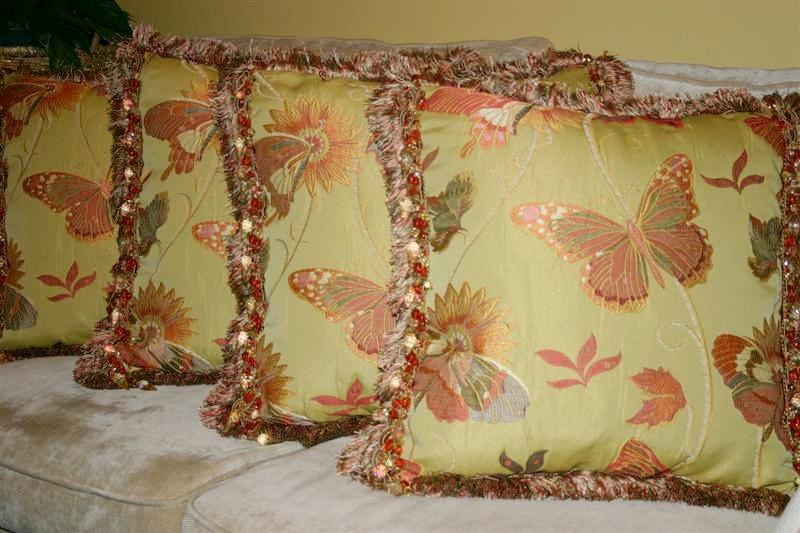 Throw Pillows w/ brush fringe and jeweled trim