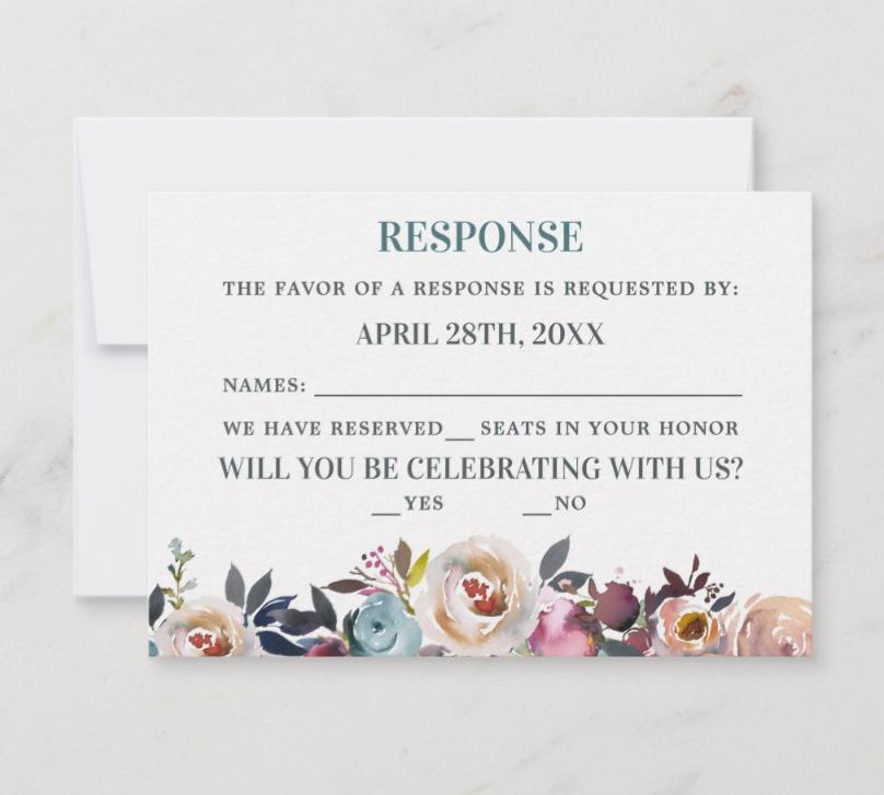 BEAUTIFUL BLOOMS RESPONSE CARD
