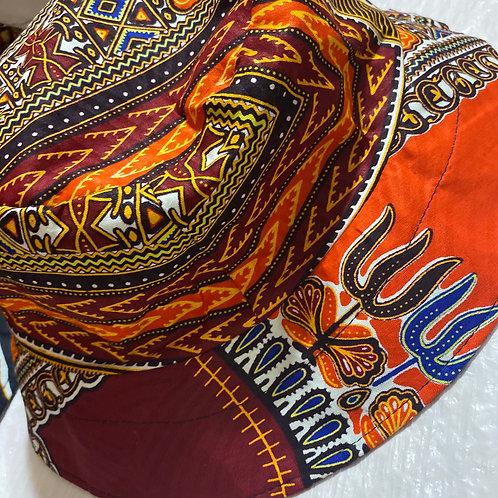 Adult Orange Traditional Print Bucket Hat (Unisex)