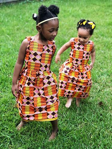 ORANGE MULTI COLOR ANKARA DRESS