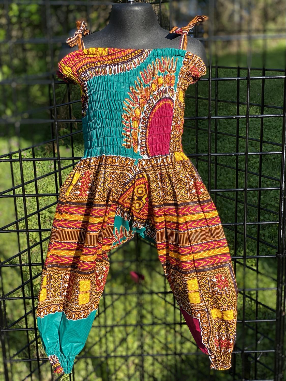 PINK TURQUOISE Traditional Ankara Print Jumpsuit