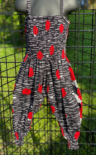 RED & BLK FLOWER ANKARA  JUMPSUIT