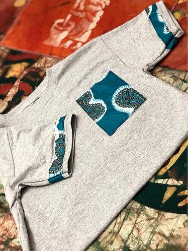 Unisex Blue Gray Ankara T Shirt