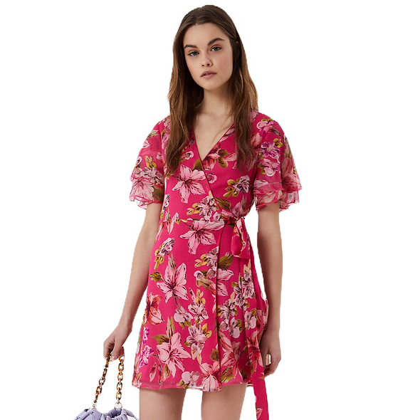 فستان LIUJO بطبعة زهور وردي