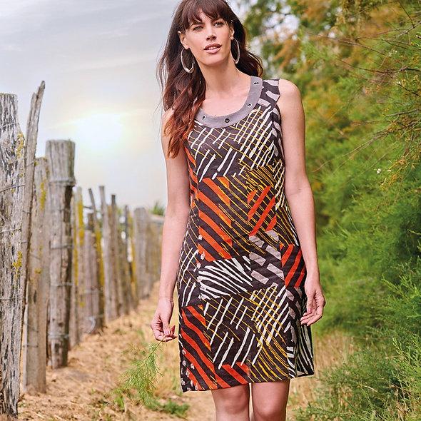 فستان غي دوبويس بطبعة برتقالي / بني