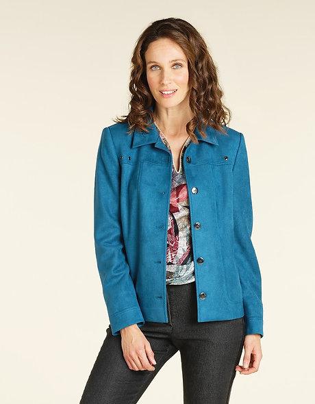 Veste bleue aspect daim | CHRISTINE LAURE