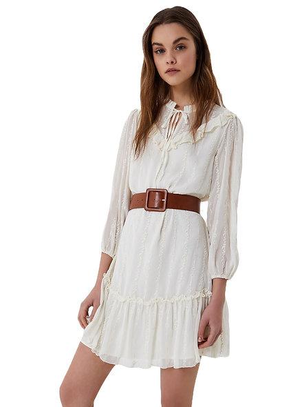 Robe blanche avec ceinture LIUJO