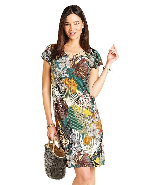 فستان من CHRISTINE LAURE بطبعات خضراء وأصفر