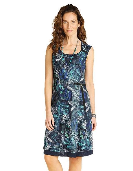 فستان من CHRISTINE LAURE باللونين الأخضر والأزرق من شبكة صيد السمك