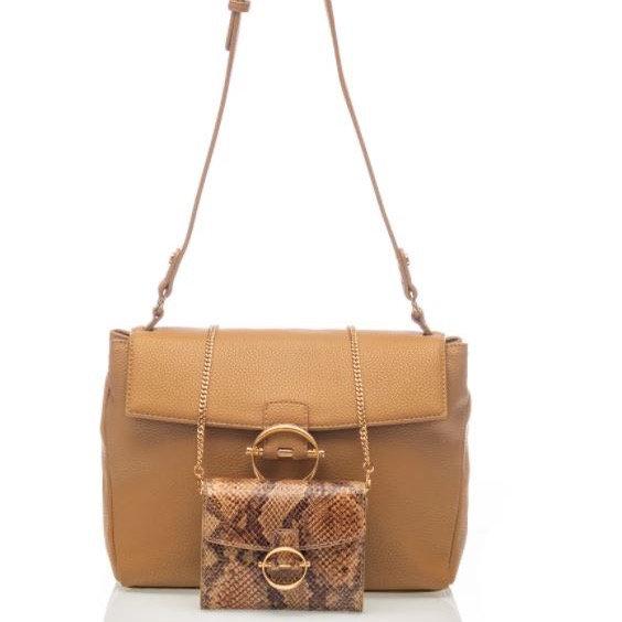 حقيبة بنية اللون مع حقيبة LIUJO صغيرة من جلد الثعبان