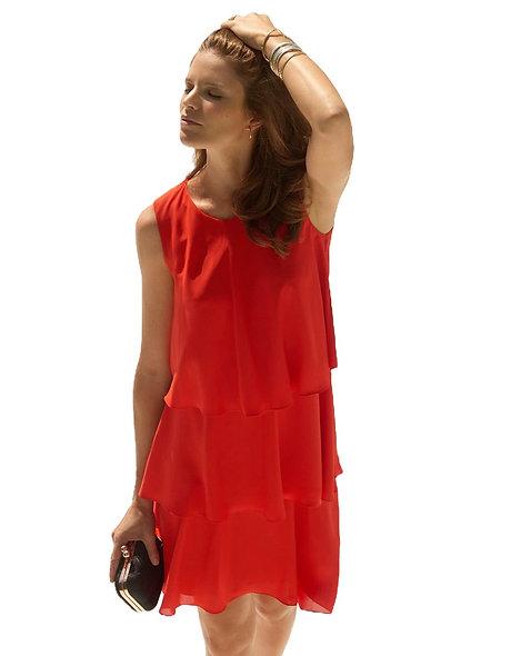 فستان أحمر أنيق بكشكشة | كريستين لوري