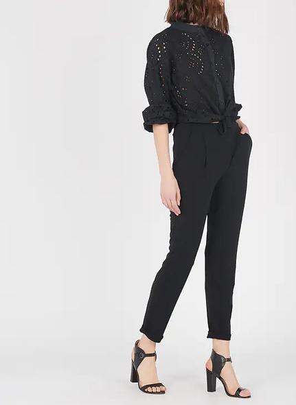 Pantalon droit en crêpe Noir | LA FÉE MARABOUTEE