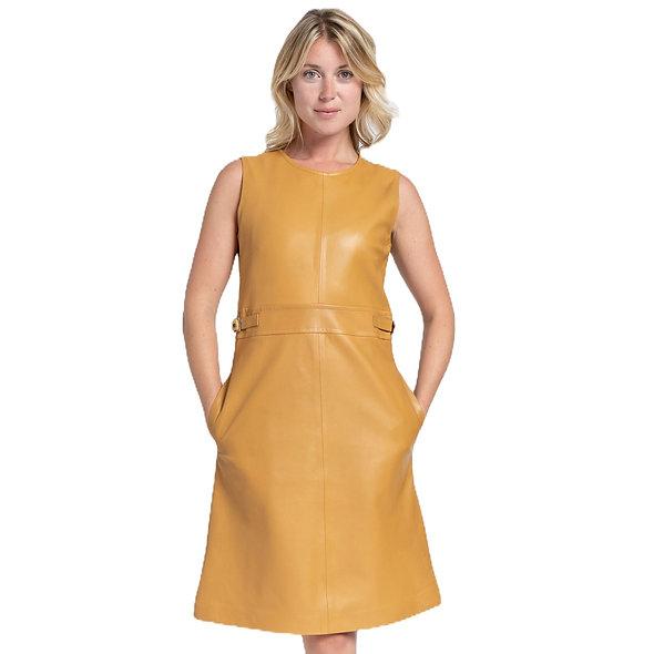 فستان بدون أكمام من جلد الخراف GIORGIO & MARIO PARIS