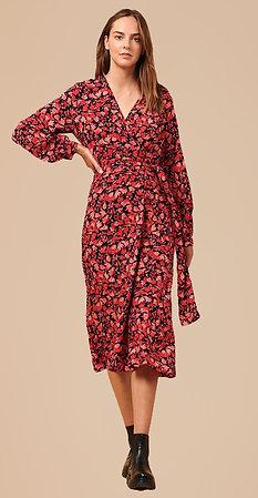 Robe longue imprimée rouge La Fée Maraboutée
