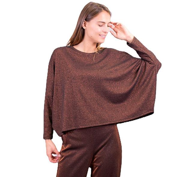 T-shirt Maille manches longues cuivre   LA FÉE MARABOUTÉE