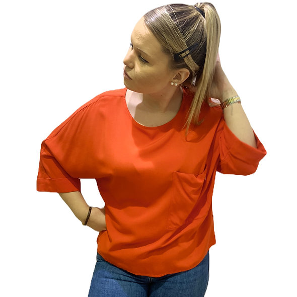 Blouse maches 3/4 orange KOCCA