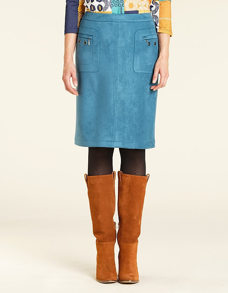 Jupe bleue aspect daim   CHRISTINE LAURE